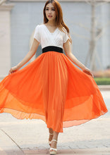 Load image into Gallery viewer, Orange chiffon maxi dress (926)