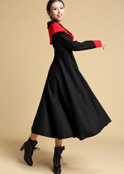 Black wool dress - women maxi wool dress - long winter dress 322#
