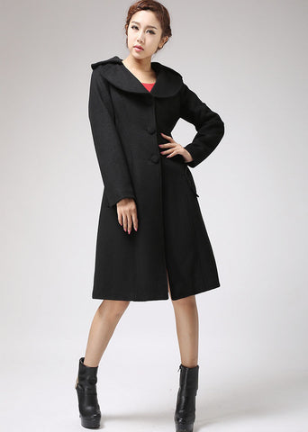 Black jacket winter wool coat cashmere coat long sleeve coat (712)