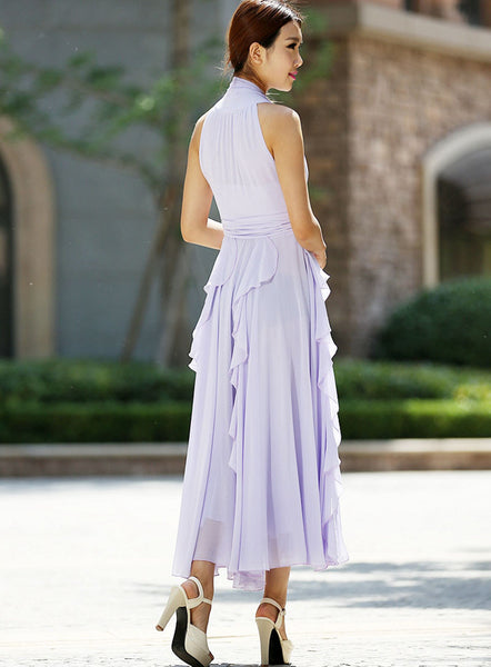 purple chiffon dress - charming halter women dress summer long dress - custom made (993)