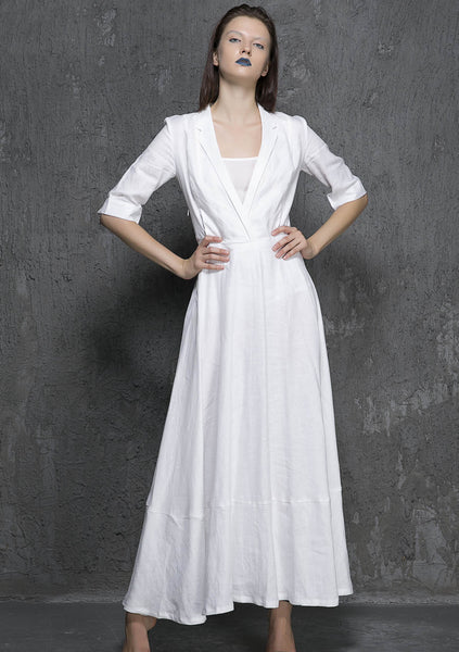 Maxi linen dress women summer longer dress (1326)