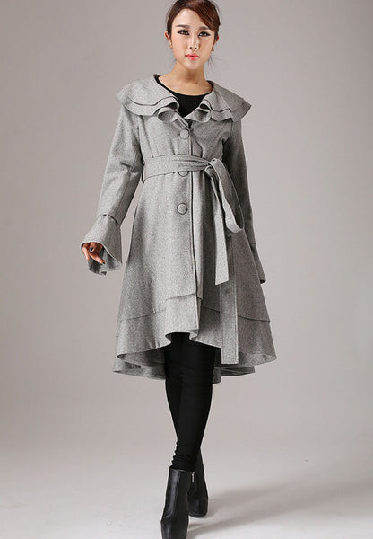 Gray coat winter jacket wool coat ruffled collar coat (763T)