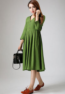 Green linen dress woman knee length dress casual long dress 0891#