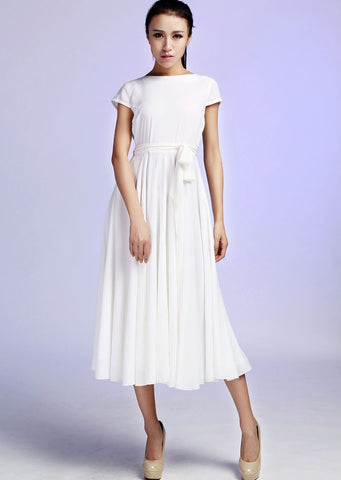 White Maxi Chiffon Dress - Custom Made Fully Lined Dress Simple Design Soft Summer Fashion (627)