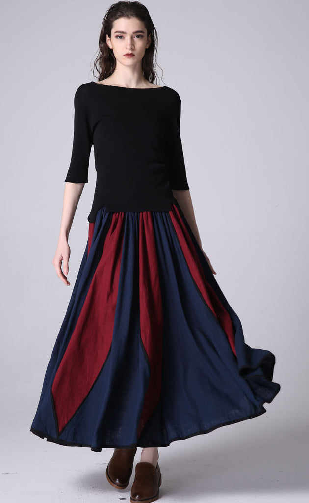 New lisiting linen maxi skirt woman's long pleated dress (1198)
