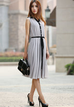 Load image into Gallery viewer, Gray dress woman chiffon dress custom made midi dress with black detail 0917#