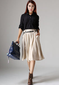 Cream skirt knee skirt linen skirt women skirt (1034)