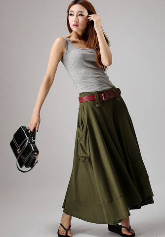 Army Green skirt - women long skirt maxi cotton knit skirt 885#