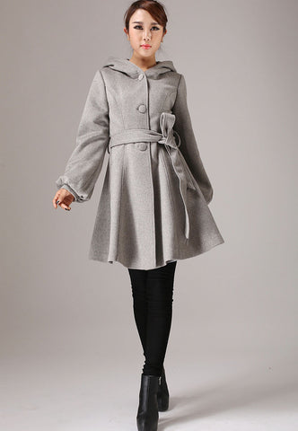 Gray short wool coat - womens winter jacket with Long lantern sleeves - cashmere coat (759T)