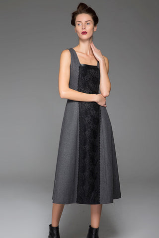 Dark Gray Wool Long Vest Winter Dress Warm Vest Dress With Black Lace Stitching (1447)