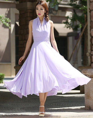 Maxi dress women purple chiffon dress prom dress wedding dress(994)