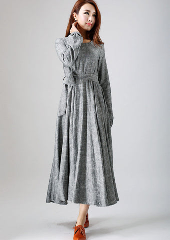 woman's gray dress long linen dress maxi spring dress (790)
