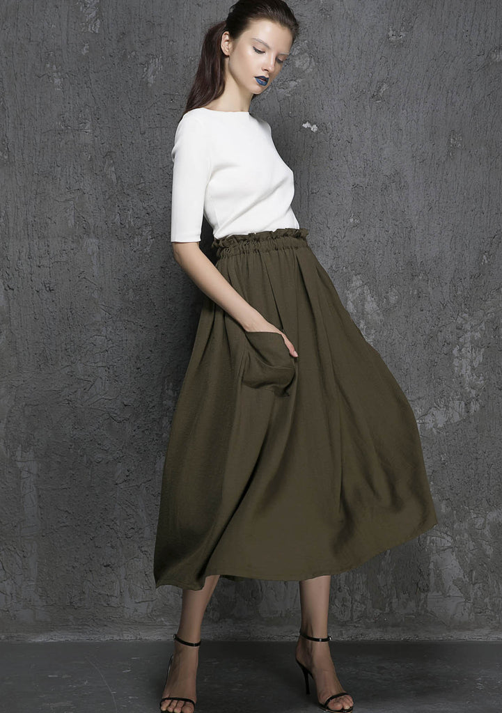 Army green skirt linen skirt maxi skirt long skirt women skirt (1335)