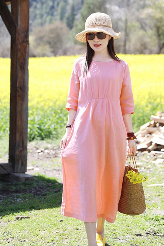 Summer new travel art linen hooded dress CYM472