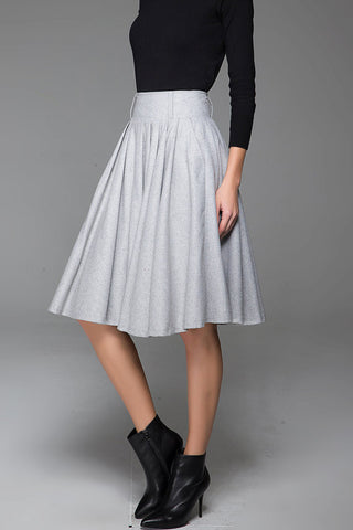 Light Gray Wool Midi Length Skirt With Pleated and Side Pockets 1434