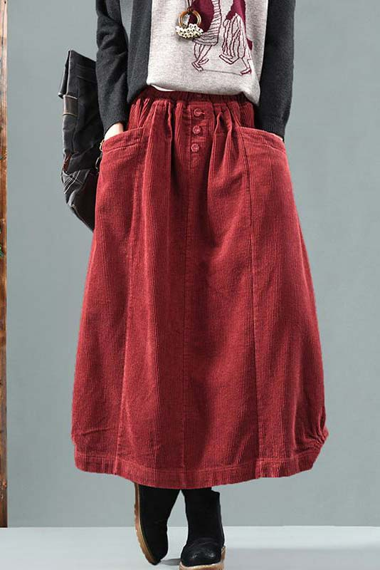 Elastic Waist Corduroy maxi Skirt for winter A010