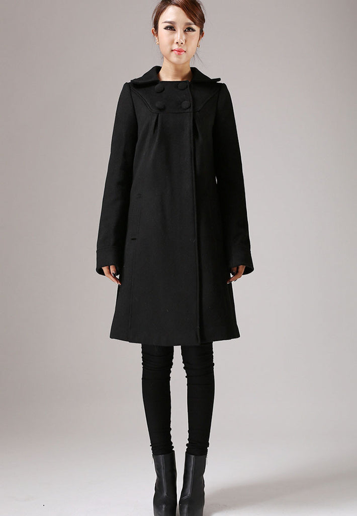 Black Wool Classic Coat with Top Buttoning - A-Line Winter Jacket Simple Style Knee Length (754T)