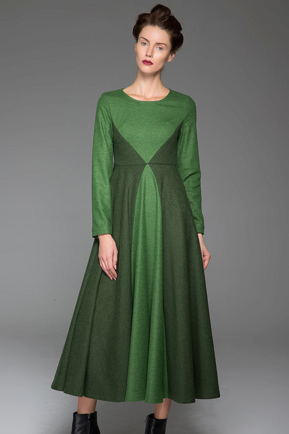 Green Wool Dress Winter Maxi Dress Dark Green Stitching Dress Long Sleeves Dress(1443)
