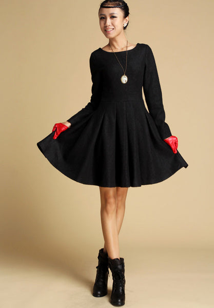 Black wool winter mini dress 352#