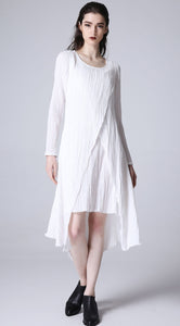 White linne dress mini dress prom dress women summer dress (1171)