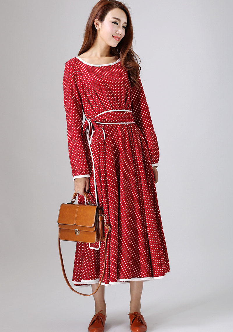 linen dress woman red and white polka dot dress custom made maxi dress (786)