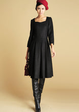 Load image into Gallery viewer, Wool Tailored Black Dress - Midi Length Structured Dress with Sweetheart Neckline (393)