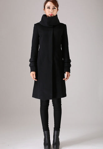 Black coat long sleeve Warm jacket winter jacket wool coat 751#