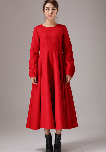 wool Maxi dress Red long dress Long sleeve dress (766)