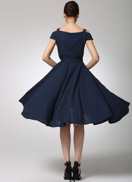 Prom dress navy blue linen dress (1262)