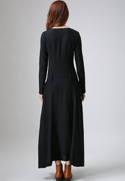 Black dress maxi linen dress woman's long sleeve dress casual dress custom made 784 (805)