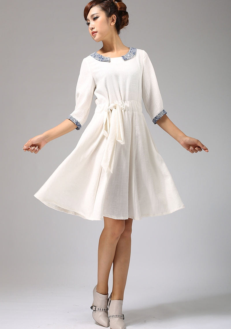 white linen dress with collar and elbow length sleeves (675)