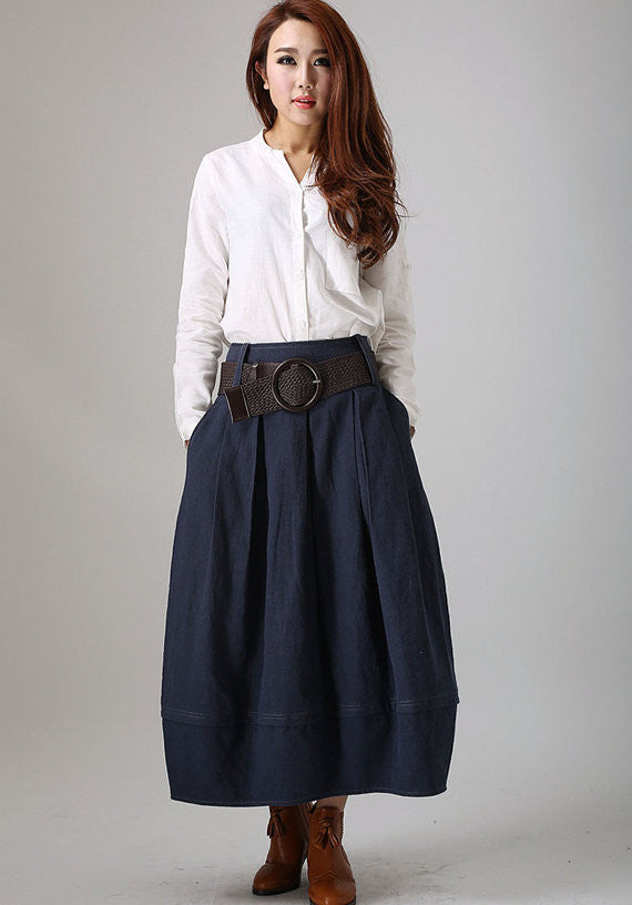 Blue Linen Skirt - maxi skirt Made to Measure long Skirt with Side Pockets (778)