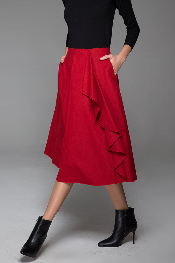 Wine Red Fashion Wool Skirt With Flower Lace Boho Skirt Warm Maxi Skirt (1431)