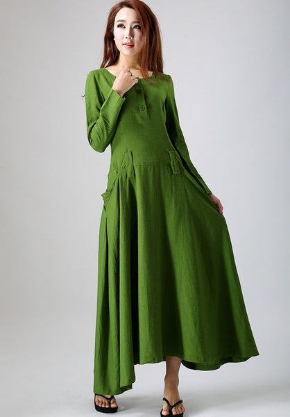 Leaf green long-sleeved linen dress - woman's maxi dress custom made long dress (784)