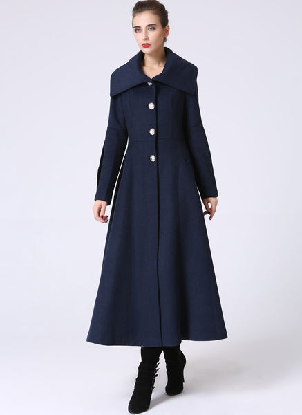 Long Blue Winter Coat - Large Collar Mid-Calf Length Single Breasted Fully Lined Coat (1054)
