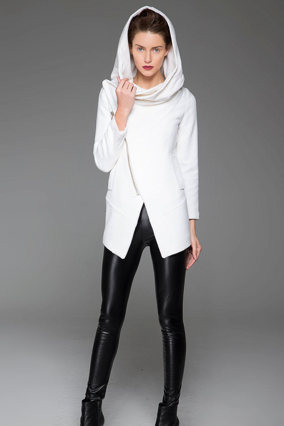 White Winter Coat - Modern Asymmetrical Zippered Wool Women's Jacket with Large Cowl Collar & Hood and Two Pockets (1421)
