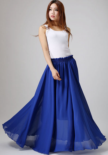 Dark blue skirt woman maxi skirt custom made chiffon skirt long tulle skirt (861)