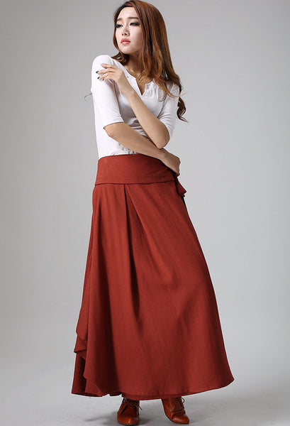 red skirt woman warp skirt custom made linen skirt maxi skir (908)