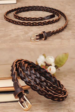 Braid simple joker pure cowhide fine section small belt YD012