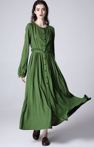 Green dress women linen dress custom made long dress (1185)