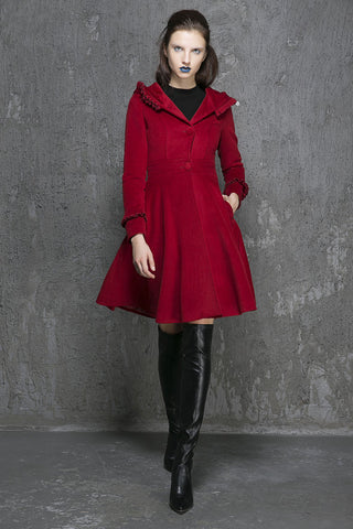 Wine red wool coat winter women coat hooded coat (1354)