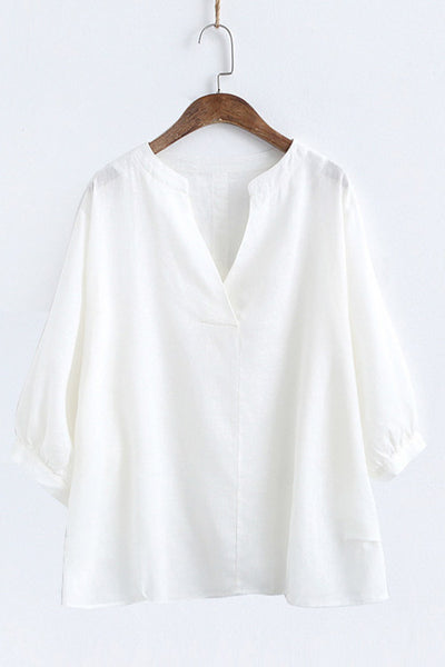 Casual linen cotton blouse with Deep V neckline CL003