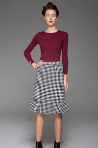 Knee Length Skirt Black and White Pattern Skirt Fishtail skirt 1439#
