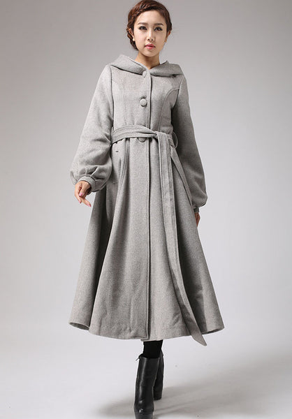 Maxi wool coat Long sleeve womens long swing coat with hood and self tie belt wasit (708)
