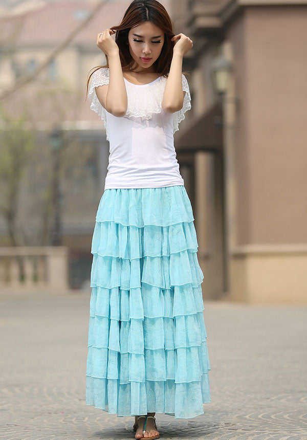 blue skirt woman Maxi chiffon skirt custom made long skirt layered skirt (938)