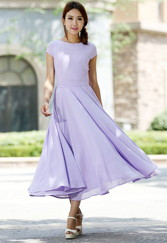 Purple dress Woman Maxi dress chiffon dress custom made bridesmaid dress (1030)