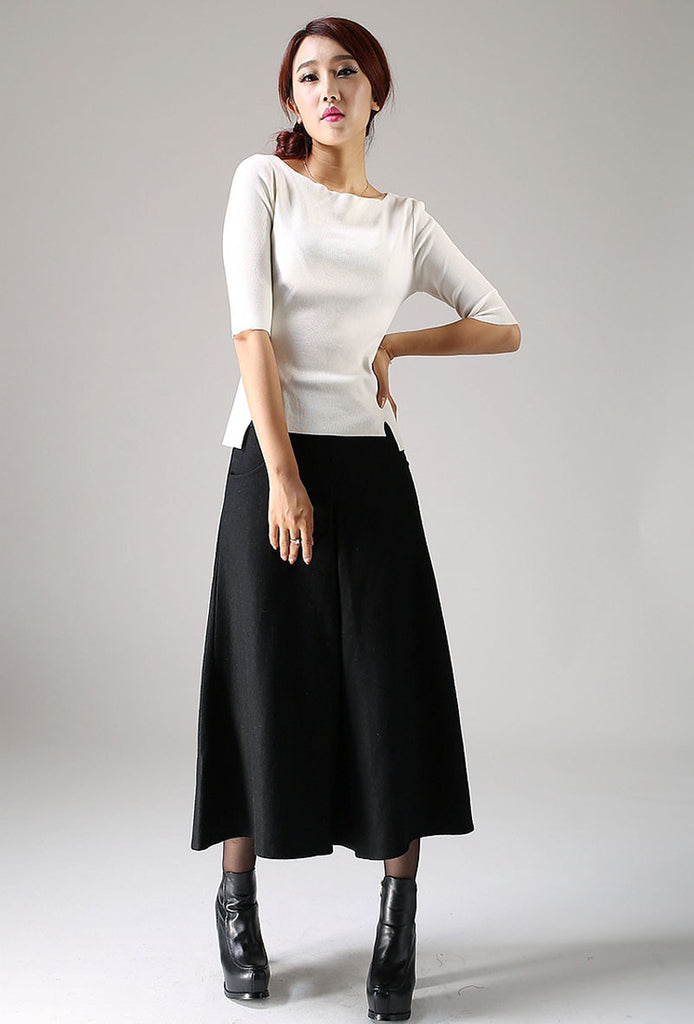 Black wool skirt - women maxi skirt - winter skirt (1084)