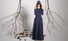 Load image into Gallery viewer, Blue hooded linen maxi dress for women 1140#