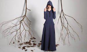 Blue hooded linen maxi dress for women 1140#