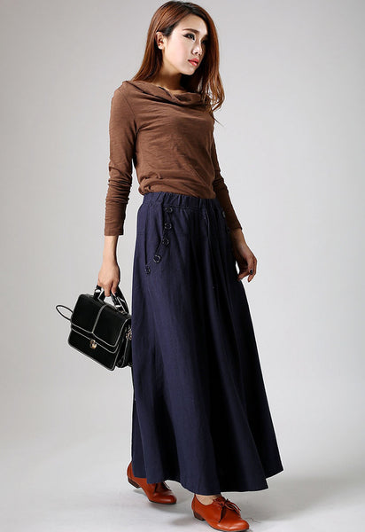 Blue linen skirt maxi skirt women long skirt (900)